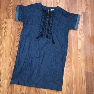 Old Navy Embroidered Chambray Denim Shift Dress